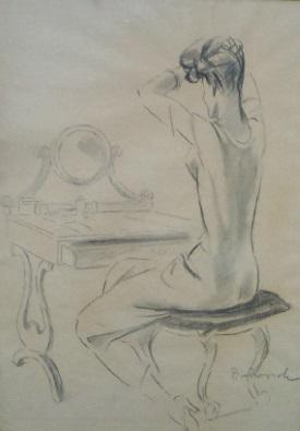 Donna seduta alla toilette con specchio rid