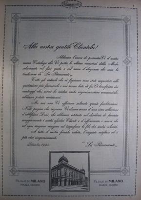 Lr2 lettera di presentazione di catalogo letter of for Carta rinascente